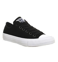 Mens Converse Chuck II Ox BLACK WHITE Trainers Shoes