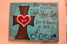 Handpainted Faith, Hope, Love canvas custom painted per order on Etsy, $40.00