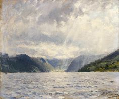Adelsteen Normann - Norwegian fjord landscape with cloudy sky