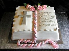 I like this Communion or Baptism Cake Open Book Cakes, Cake Paris, Bible Cake, Religious Cakes, Confirmation Cakes, First Communion Cakes, Novelty Cakes, Occasion Cakes, Girl Cakes