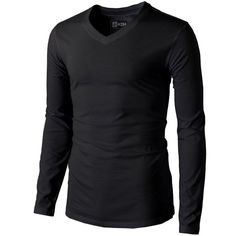 H2H Mens Basic T-Shirts with V-Neck Long Sleeve ($15) ❤ liked on Polyvore featuring men's fashion, men's clothing, men's shirts, men's t-shirts, mens t shirts, mens v neck shirts, mens long sleeve v neck t shirts, mens long sleeve t shirts and mens vneck shirts