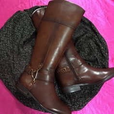 "Alex Marie Leather Boots NwtSale Sz 7.5 Dark Sepia with beautiful Bronze buckle braid design. Boots measure 17"" tall, top circuit acne of boot measures 7"" across and has a 1"" heel. Boots zip down in the inside. Alex Marie Shoes Winter & Rain Boots"