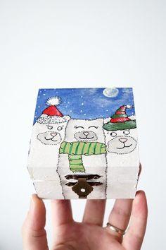 Bears art box - Wood Funny Kids Box Three Teddy Bears - Small Square Polar Bears Brothers or Friends - Winter Holiday Christmas present kids  #bears #teddybear #bear #funny #wood #wooden #kids #three #polarbear #friends #brothers #sisters #winter #holiday #christmas