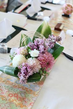 Japanse wedding - table flower with Lilac