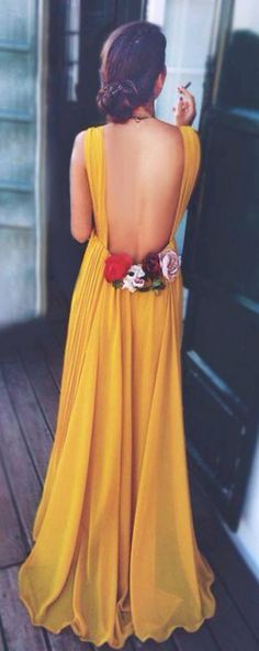Beautiful Prom Bridesmaid-Inspired Bright Yellow Backless Chiffon Maxi Dress With Delicate Rose Detail Trim