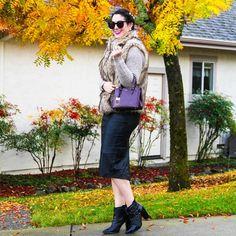 Faux fur vest + Leather pencil skirt www.wannabefashionblogger.com