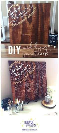 "DIY wedding ""guestbook"" Super easy, affordable and fun for your guests! Not to mention you can hang it in your home to treasure for years to come Forever Fireflying frugal wedding ideas, budget weddings, Wedding Wishes, Wedding Bells, Fall Wedding, Dream Wedding, Trendy Wedding, Wedding Unique, Wedding Messages, Unique Weddings, Signs For Weddings"