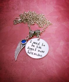 I Used To Be His Angel Now He's Mine - Memorial Necklace - Hand Stamped