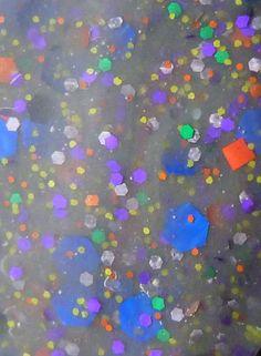 light grey base, blue, purple, green, yellow, orange, silver glitter