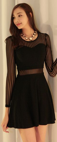 Luxe Asian Women Design Korean Model Fashion Style Annie-through Black Dress