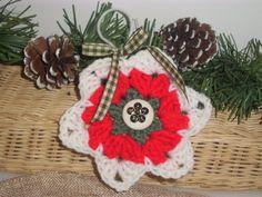 CROCHETED CHRISTMAS ORNAMENT Handmade Red by ShopOfCraftsByMyrna, $5.00