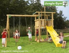 Jungle Gym Hut with Swing Module Sale - Now only £450. A great wooden climbing frame for children