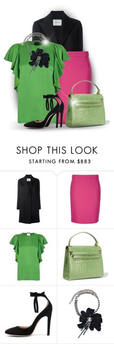 """Colour Series 2/12: Green (OUTFIT ONLY!)"" by bliznec ❤ liked on Polyvore featuring Lanvin, Valentino and Gianvito Rossi"