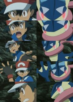 Ash Ketchum and his newly evolved Greninja ^.^ ♡ I give good credit to whoever made this