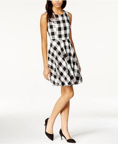 Maison Jules Gingham Fit & Flare Dress, Only at Macy's