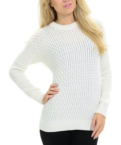Take a look at this White Crewneck Pullover Sweater today!