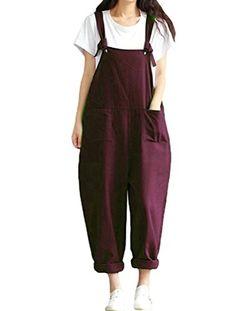 65ae5a8b4639e2 Material: 90% Baumwolle 10% Andere. Pflegehinweis: Maschinenwaschbar. Frauen  Sommer Hosen Wide Leg Taschen Latzhose Sommerhose Lose Trouser Pants.