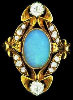 Art Nouveau opal and diamond-set ring, ca.1900.