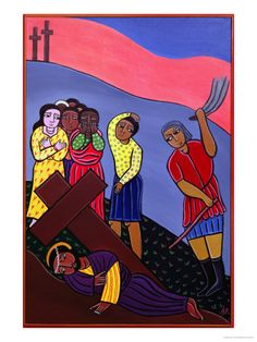 Jesus Falls a Third Time, No. 9 in 14 Stations of the Cross Series, 2002 by Laura James