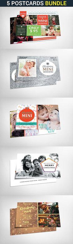 5 Christmas Cards Bundle. Creative Card Templates