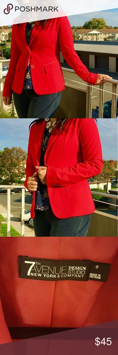 bright red 7th Avenue New York & Company blazer It's a really pretty bright red 7th Avenue New York & Company blazer in a size 0. I usually wear a size 4 but it fits me pretty good. Feel free to ask if you wanna know the size in inches. It's brand new without tags. I have only worn it once.  Only fair offers accepted. No trades please. Happy poshing ! New York & Company Jackets & Coats Blazers