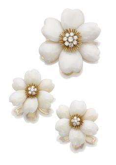 Coral and diamond demi-parure, 'Rose de Noël', Van Cleef & Arpels - Sotheby's