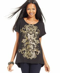 Style&co. Top, Short-Sleeve Scroll-Print High-Low