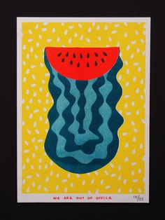 Risograph Print Boogie Watermelon by weareoutofoffice on Etsy