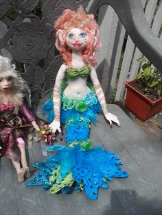 wired mermaid cloth doll with Swarovski crystals and sequins. made from pattern