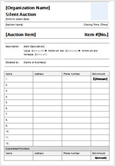 silent auction description sheet