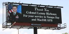 """""""Thank you, Col. Lenny Richoux..."""" -- a billboard in Brandon, FL"""