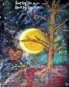 Tree Painting - Sun and Moon Painting - Mixed Media