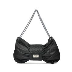 This Satin Bow bag is crafted from black satin with the classic diamond quilt around the middle. It has a  silver toned metal gilt chain, and features the classic  Mademoiselle turn clasp lock and zip closure. Interior is lined in fabric and features a zip pocket. | Measurements: 41cm (length) x 22cm (height) x 9cm (depth)  | Comes with authenticity card and care card |