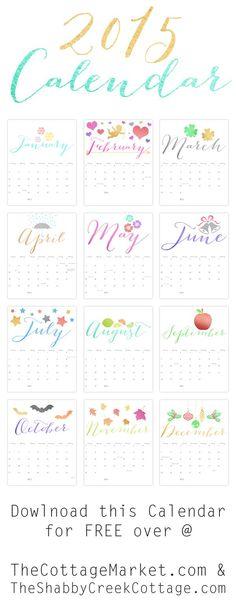 Free Printable 2015 Calendar - The Cottage Market