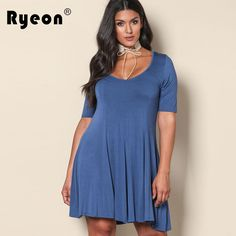 Ryeon Plus Size Blue Tunic Women Dress Big Sizes Casual Short Sleeve Retro  Elegant Office 3xl 842884766d5c