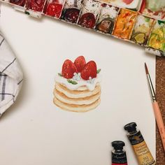 "4,225 Likes, 10 Comments - ซิบบิล : SIBBIL (@sibbil_) on Instagram: ""Pancake #sibbil#illustration#watercolor#dessert#pancakes#sennelier"""