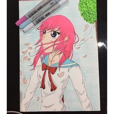 【chiakimisaki】さんのInstagramをピンしています。 《Throwback Monday to when I used the pens and actually LOVED something that came out of them! #anime #animegirl #pinkhair #purpleeyes #schoolgirl #schooluniform #japanese #kawaii #manga #mangagirl #wind #cherryblossoms #tree #windy #art #illustrate #copic #copicsketch #copicmarker #copiciao #markers #colour #illustrate #illustration》
