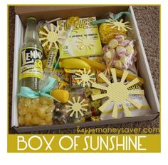 Box of sunshine gift Hospital Gift Baskets, Hospital Gifts, Diy Gift Baskets, Basket Gift, Cheer Up Basket, Raffle Baskets, Birthday Box, Birthday Gifts, Homemade Birthday