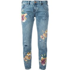 One Teaspoon orchid print distressed cropped jeans (11.385 RUB) ❤ liked on Polyvore featuring jeans, pants, blue, oneteaspoon, ripped blue jeans, destructed jeans, destroyed cropped jeans and patterned jeans
