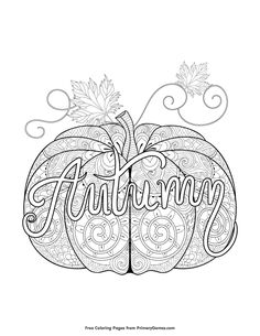 Fall Coloring Pages EBook Autumn Pumpkin Zentangle