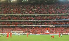 95,446 thousand people at the Melbourne Cricket Ground to watch a friendly between Liverpool FC and Melbourne Victory FC  - http://earth66.com/sports/95446-thousand-people-melbourne-cricket-ground-watch-friendly-liverpool-melbourne-victory/