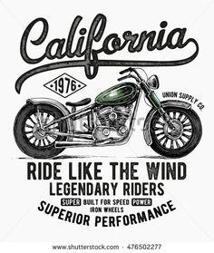 California motorcycle typography, t-shirt graphics, vectors.