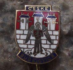 Ceske Budejovice Defending Angel on Castle Walls Heraldic Souvenier Pin Badge