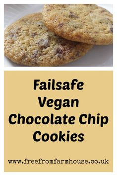 These dairy free, egg free cookies are a failsafe recipe. Noone will realise they are vegan chocolate chip cookies as they are chewy and delicious! Vegan Dishes, Vegan Desserts, Just Desserts, Dessert Recipes, Vegan Chocolate Chip Cookie Recipe, Dairy Free Cookies, Egg Free Recipes, Delicious Vegan Recipes, Tasty