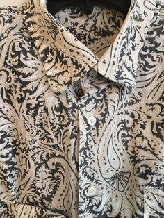 ALAN FLUSSER PAISLEY Men's Shirt Long Sleeve Button Front XL Gray Cream…