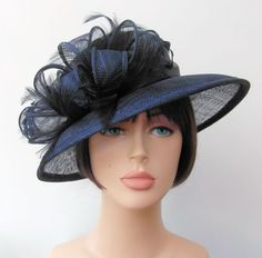 Quality Navy Blue Sinamay Shaped Brim Formal Hat Bow  amp  Feathers - size  57 cms 734bddc2771