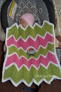 String With Style: Chevron Love Car Seat Blanket.  Free pattern.