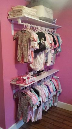 Baby room organization - Twin girls on the way;small nursey & no closet We decided to improvise and us wall shelves and towel rods ♡ Turned out beautiful & didnt have to use an extra piece if furniture nurseryideasclose Baby Bedroom, Baby Room Decor, Nursery Room, Girls Bedroom, Girl Nursery, Bedroom Ideas, Room Baby, Bedroom Dressers, Baby Nursery Organization