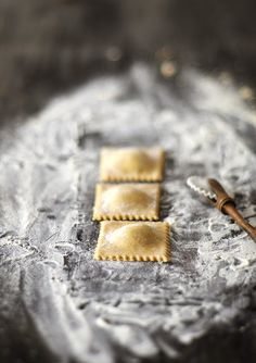 Noodle ravioli with wild garlic curd cheese filling