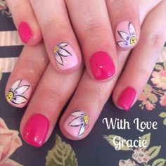 Jessica GELeration hand painted nail art. Created by With Love Gracie. #nailart #flowers